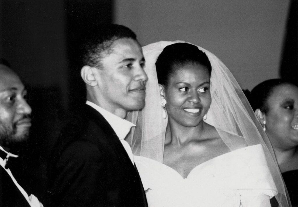 מישל וברק אובמה ביום חתונתם. צילום: אינסטגרם