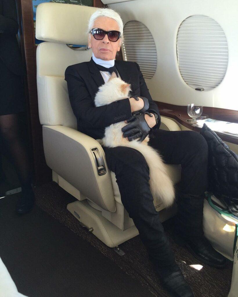 לגרפלד במטוסו הפרטי עם החתולה שלו