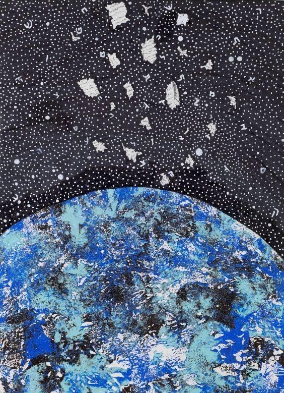 האיור של נועה רמון לתערוכה חי בחלל