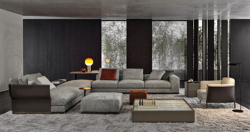 ספות מודולריות במראה קובייתי בשילוב שזלונג והדום תואמים, בעיצוב רודולפו דורדוני ל- Minotti