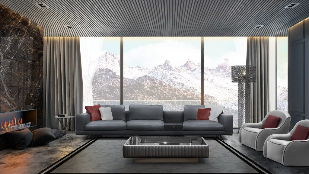 ספה מודולרית מעור אפור כהה בשילוב כורסאות באפור בהיר, בעיצוב Tonino Lamborghini Casa