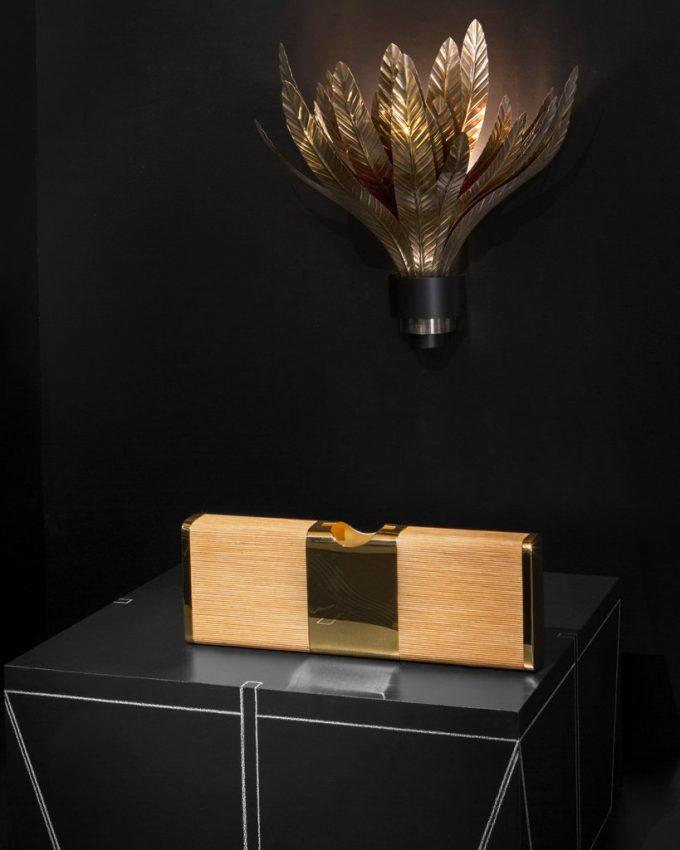 דיור הום - אגרטל ואהיל למנורה עשוי עלים-עלים