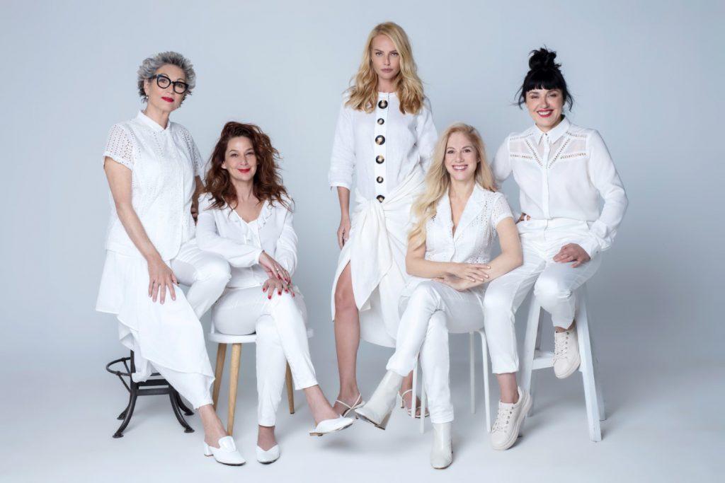 מימין לשמאל - ננה שרייר, אילון נופר, גלית גוטמן, דנה ספקטור ונורית גורדון - בקמפיין העצמה נשית לקרייזי ליין