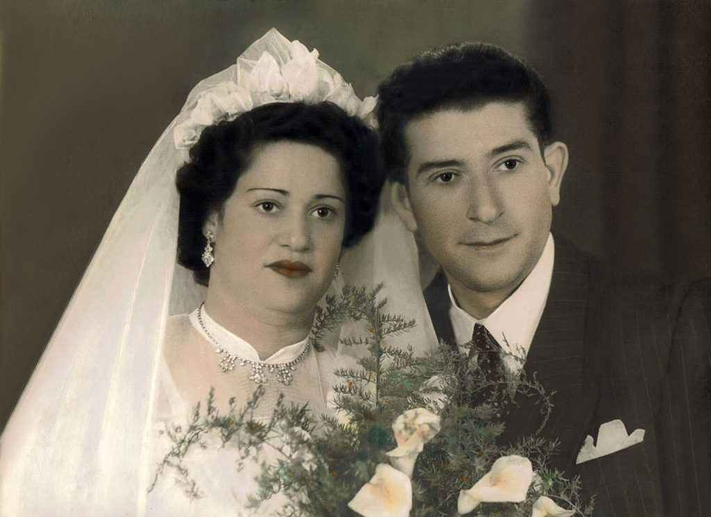 הוריי, מרדכי וטוני אוסקובסקי ביום נישואיהם, 1955