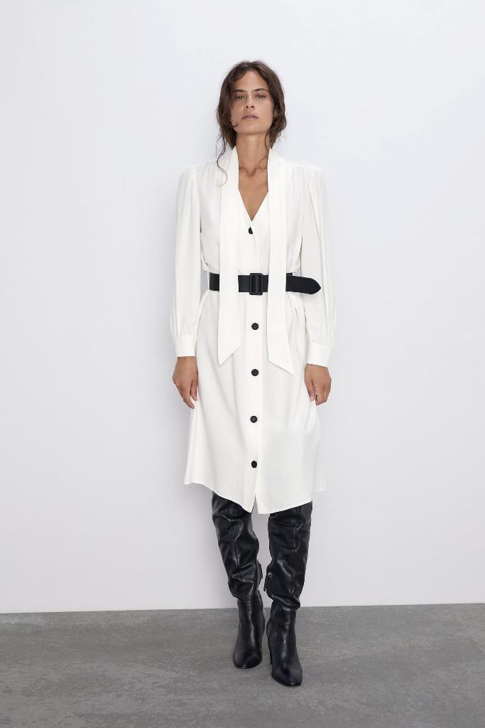 3שמלה עם קשירה וחגורה 269 זארה