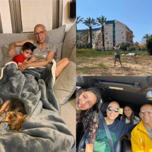 2מירית הררי עם הנכד, עם הבעל והבנות ועושה שלום מבחוץ לאמה בדיור המוגן