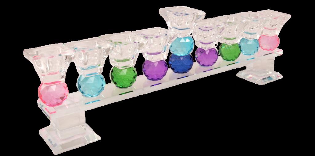 3ג'מבו סטוק חנוכיית קריסטל צבעונית